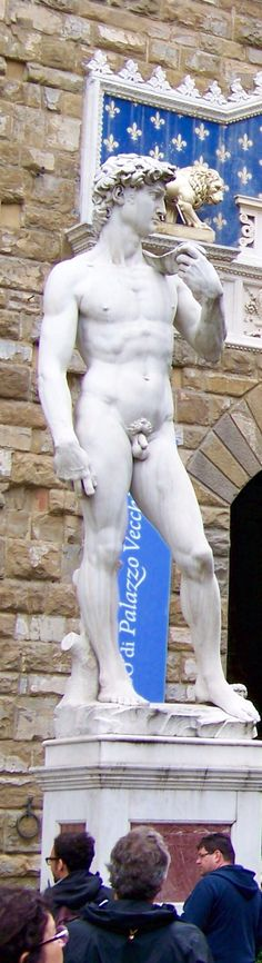 statue of Michelangelo's David (one is in the Accademia Gallery) outside  the entrance to the Palazzo Vecchio, Florence, Italy. Photo taken by Gloria Bolton