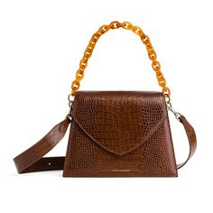 GABRIELLE XL - Crocodile brun – TAMMY & BENJAMIN Crocodile, Gold Logo, Shoulder Strap, Handbags, Brown, Purse, Crocodiles, Totes, Hand Bags
