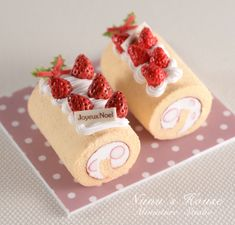 2 perfect strawberry cake rolls from NuNu's House by Mr.Tomo Tanaka