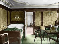 First class accommodations aboard the RMS Titanic in an undated photo. The largest ship afloat at the time, the Titanic sank in the north Atlantic Ocean on April after colliding with an iceberg during her maiden voyage from Southampton to New York City. Rms Titanic, Titanic Real, Titanic Photos, Titanic Sinking, Titanic Museum, Titanic Movie, Belfast, Costume Titanic, Titanic Artifacts