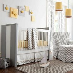 Crib Bedding In Yellow And Gray Zig Zag For Baby Boy Or By Carousel Designs