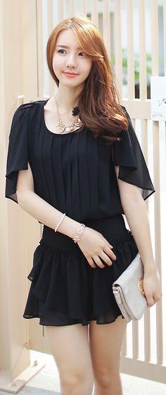 Luxe Asian Korean Women Fashion Dance With Black Dress