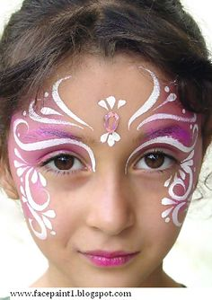 Pink and white henna inspired face paint - instead of pink use green for Maya's fairy costume for Halloween ! :) @Yachi Lo Dunkle