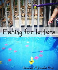 Fishing for letters- a fun way to learn and reinforce the alphabet!  Have you had fun with the alphabet lately? Great idea for our sensory tables or water tables on the playground!
