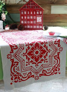 I love a functional gift that will last beyond the holidays! These stenciled table runners are just the ticket for anybody who likes to host parties or just make their table look festive. You can purchase almost all of the supplies at your local Lowe's Home Improvement store. The cloth is cut from a canvas …
