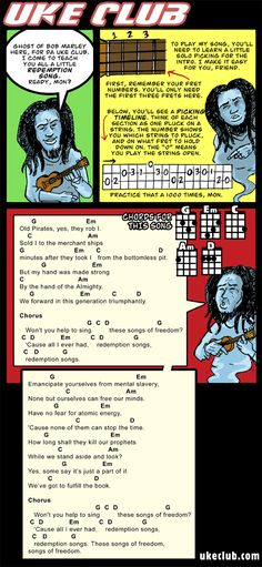"""Bob Marleys """"Redemption Song"""". Great song, and fun to play.--nice description on how to read the fingerpicking"""