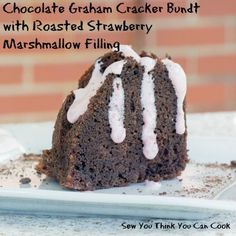 Chocolate Graham Cracker Bundt with Roasted Strawberry Marshmallow Filling for #BundtBakers from Sew You Think You Can Cook