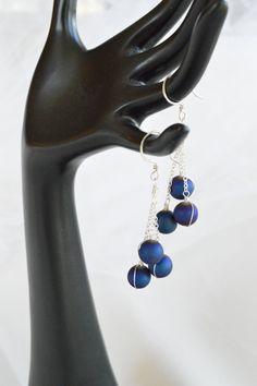 Blue Titanium Druzy Quartz and Sterling Silver Three Drop Dangle Earrings by adrienneadelle