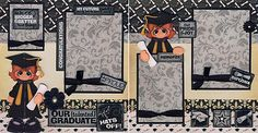 GRADUATION GIRL ~ 2 Premade Scrapbook Pages paper piecing layout 4 album CHERRY
