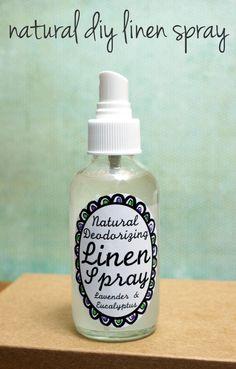 DIY Natural Deodorizing Homemade Lavender Linen Spray Recipe with Printable Labels