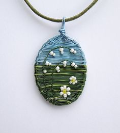 Lily of the Valley pendant daisy pendant wire by LouiseGoodchild