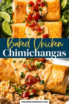 These baked chicken chimichangas are so crispy and delicious! They're easy to make, so you can have a great Tex-Mex dinner any time. Everyone will love these homemade chimichangas, especially if you top them with cheese sauce! Easy Baked Chicken, How To Cook Chicken, Chicken Recipes, Chicken Meals, Chimichanga Recipe Chicken, Mexican Side Dishes, Main Dishes, Cooking Recipes, Healthy Recipes