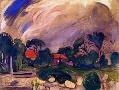 Edvard Munch: Stormy Landscape, Oil on Canvas Edvard Munch, Oslo, Kandinsky, Renoir, Paul Gauguin, Post Impressionism, Art Graphique, Monet, Oeuvre D'art