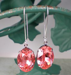 Rhinestone Earrings Rose Peach Swarovski Sterling Silver Drop Earrings Pink Peach Coral Prom Wedding. $20.00, via Etsy.