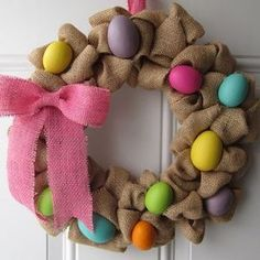 Easter Wreath, Easter Egg Wreath, Burlap Wreath, Spring Wreath, Easter Decor by … Burlap Crafts, Wreath Crafts, Diy Wreath, Wreath Burlap, Wreath Ideas, Holiday Wreaths, Holiday Crafts, Easter Wreaths Diy, Easter Garland