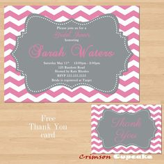Printable Pink Gray Grey Chevron Bridal Baby Shower Invitation Free Thank You card