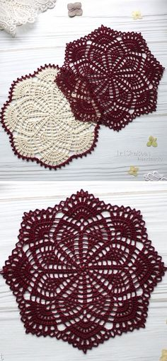 Those dories look just beautiful - the dark and white color really embellishes this amazing, detailed lace. They will be a great coasters or just a decoration on your coffee table. Free Crochet Doily Patterns, Crochet Doily Diagram, Crochet Motif, Crochet Designs, Crochet Coaster, Free Pattern, Crochet Dollies, Crochet Flowers, Crochet Hats