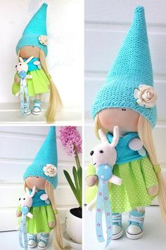 Tilda-Puppe Textil Puppe innen Spielzeugpuppe Art Puppe blond
