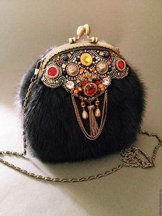 Купить Норковая сумочка с фермуаром. - коричневый, норковая сумочка, вечерняя сумочка, сумочка с фермуаром