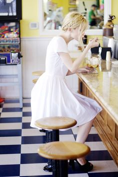 She sighed as she plopped down at the counter.  She ordered her usual dish of soup and gently slurped it up.  She was ready to go home for a change.  But this had practically become her home after these past seven years.