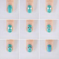 Nail art: Sulley do filme Monstros S.A.