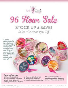 Just released — Carton Specials ($21.25 each!) for the next 96 hours!!!!!! PLUS my free gift of any orders of $50 or more will apply to this sale!  #savings #sprinkles #pinkzebra #scents #crowdpleaser #favorites #clean #fruity #fresh https://www.pinkzebrahome.com/schad