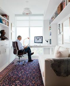 New home office window desk layout Ideas Home Office Layouts, Home Office Organization, Home Office Space, Home Office Desks, Office Furniture, Small Office, Luxury Furniture, Gothic Furniture, White Office
