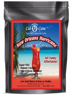 Skinny Cal-O-Cane (TM) Zero Calorie All Natural New Orleans Hurricane Mixer 8 New Orleans Hurricane, Cocktail Mix, Diabetic Friendly, Non Alcoholic, Mixed Drinks, Healthy Drinks, Energy Drinks, Skinny, Mixer