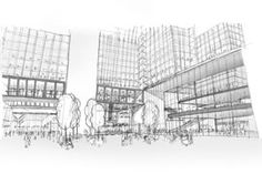 Concept sketches for the redesign of a ministry building in The Hague