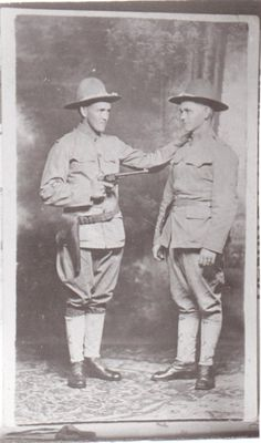 Richard Harrison Mustain (Avery's line). Harrison clowning around with an unknown soldier. This photo was probably taken prior to shipping overseas for World War 1. Harrison is the Doughboy holding the pistol. http://wc.rootsweb.ancestry.com/cgi-bin/igm.cgi?op=GET&db=mustaing&id=I754 AND http://person.ancestry.com/tree/21472985/person/1089637291/facts   Lineage: Avery 1756, Thomas Edward Mustain 1798, Thomas Edward Mustain 1844, Lewis Edward Mustain 1871, and Richard Harrison Mustain 1891.