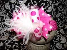 Over the Top Boutique Hairbow with Headband Great ideas for any ponytail or baby band.