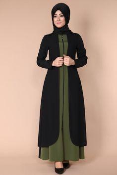 C.M.N - Yeleği Dantel Çift Renkli Ferace MDS5140 Siyah&Haki Hijabi Gowns, Pakistani Dresses, Stylish Hijab, Hijab Chic, Abaya Fashion, Fashion Dresses, Dress Outfits, Islamic Fashion, Muslim Fashion