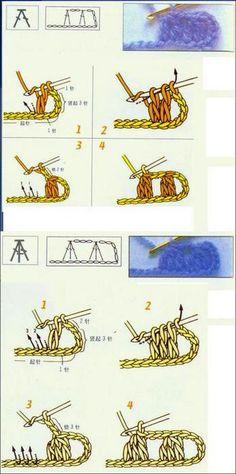 les points au crochet avec schemas - Fleurs et Applications au Crochet Mode Crochet, Crochet Diy, Knitting Projects, Crochet Projects, Stitch Patterns, Crochet Patterns, Japanese Crochet, Le Point, Crochet Stitches