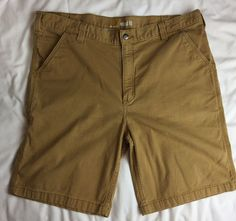 49f760273e Carhartt Relaxed Fit Canvas Utility Work Shorts Brown Size 40   eBay