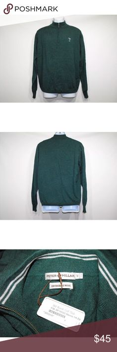 Peter Millar Merino Wool 1/4 Zip Pullover Sweater New with Tags Men's Peter Millar 100% merino wool green 1/4 zip pullover sweater. Size Medium. Great condition. Peter Millar Sweaters Zip Up