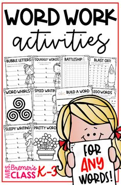 Word work activities for ANY words! Word work is an essential part of language learning in the prim Spelling Word Activities, 1st Grade Activities, Language Activities, Writing Activities, 1st Grade Spelling, First Grade Words, Second Grade, Grade 1, Third Grade Centers