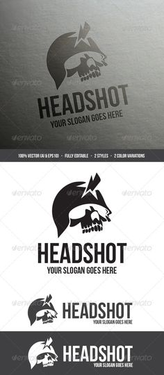 Headshot Logo #GraphicRiver Headshot Logo was made for your shooting club, paintball club, gaming portal / website, banner, poster, tattoo or just something that you would like to put on your t-shirt. - 100% vector graphics (.AI, .EPS & .EPS10 included) - Fully editable, grouped and layered with names, for easier navigation! - 2 color variations, greyscale and b/w versions included - 2 different styles - Resizable, fits any resolution - Short guide with quick info before you start - Used…