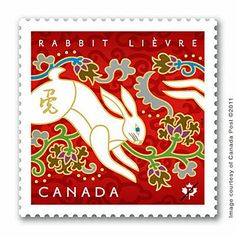 Illustrated by Ontario artist Tracy Walker, these postage stamps celebrate the year of the rabbit