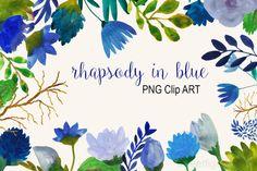 Blue watercolor flowers clip art by cherylwarrick on Creative Market