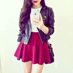 Outfit with dark red skirts of Bershka Date Outfits, Teen Fashion Outfits, Girly Outfits, Cute Fashion, Outfits For Teens, Fashion Clothes, Spring Outfits, Dress Outfits, Girl Fashion