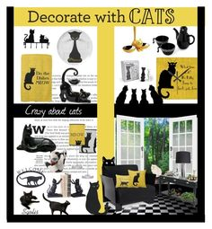 """Decorate with Black Cats"" by sgolis ❤ liked on Polyvore"