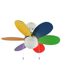"""Multi-Coloured 30"""" Ceiling Fan with 6 Reversible Blades & Opal Glass Light"""