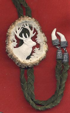 carved antler neckties