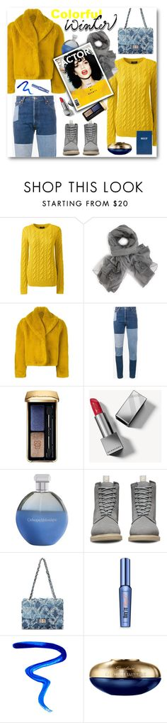 """""""Colorful Winter..."""" by pomy22 ❤ liked on Polyvore featuring Lands' End, Jean-Paul Gaultier, RE/DONE, Guerlain, Burberry, Catherine Malandrino, Dr. Martens, Benefit, Givenchy and Sloane Stationery"""