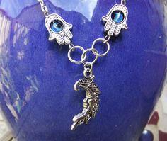 Silver Hamsa Hand Evil Eye Crescent Moon Necklace by BeadSparkleZ