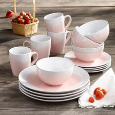 Mint Pantry Valia 16 Piece Full Set, Service for 4 Color: Pink/White Stoneware Dinnerware Sets, Square Dinnerware Set, White Dinnerware, Tableware, Pink Christmas, Christmas Home, Dish Sets, Dinner Sets, Joss And Main