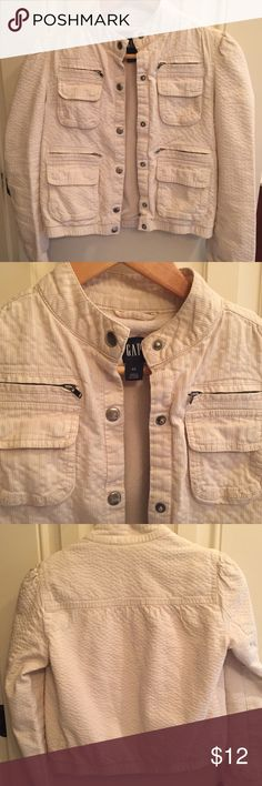 Fall Gap Motorcycle Bomber Jacket XS Gap Motorcycle Bomber Jacket size XS.  Preloved with some minor imperfections and marks like shown in the last picture.  Super cute and still has lots of life left.  Perfect for fall. Gap Jackets & Coats