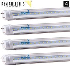 4-Pack of Hyperikon® T8 LED Light Tube, 4ft, 18W (36W equivalent), 4000K (Daylight Glow®), Single-Ended Power, Clear 1 Line, UL-Listed & DLC-Qualified