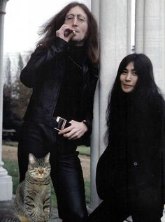 john lennon / yoko ono. and it could be a super imposed cat:)