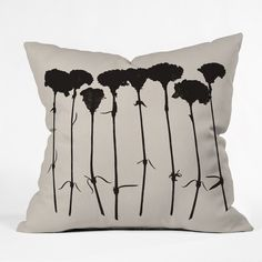 Garima Dhawan Carnations Black Outdoor Throw Pillow   DENY Designs Home Accessories